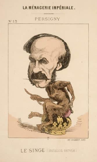 Napoléon caricaturé en singe